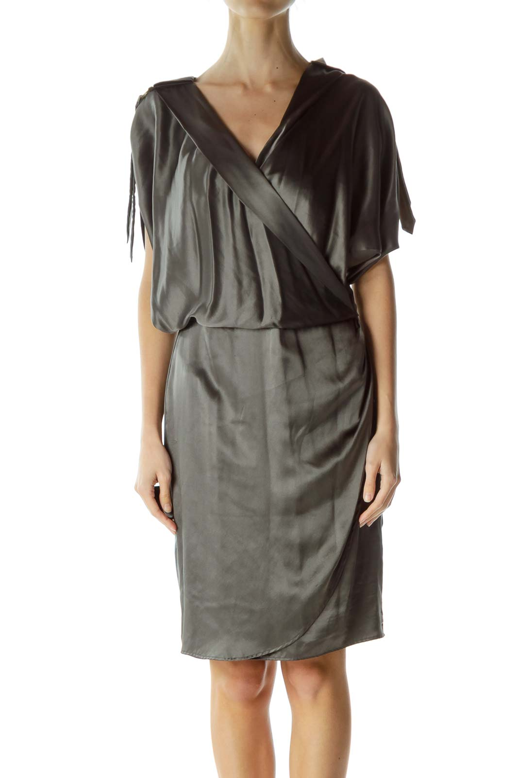 Gray Silk Short Sleeve Dress Front