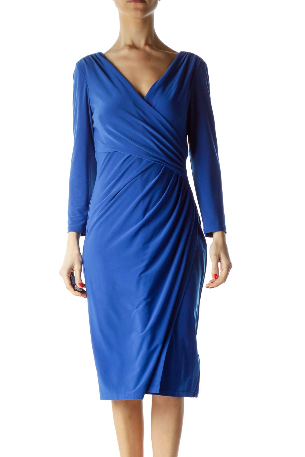 Blue Ruched 3/4 Sleeve Dress Front