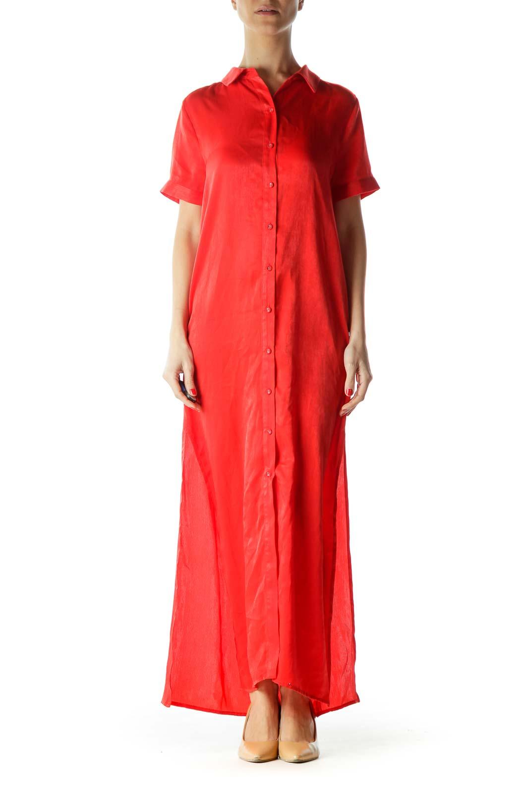 Red Maxi Shirt Dress Front