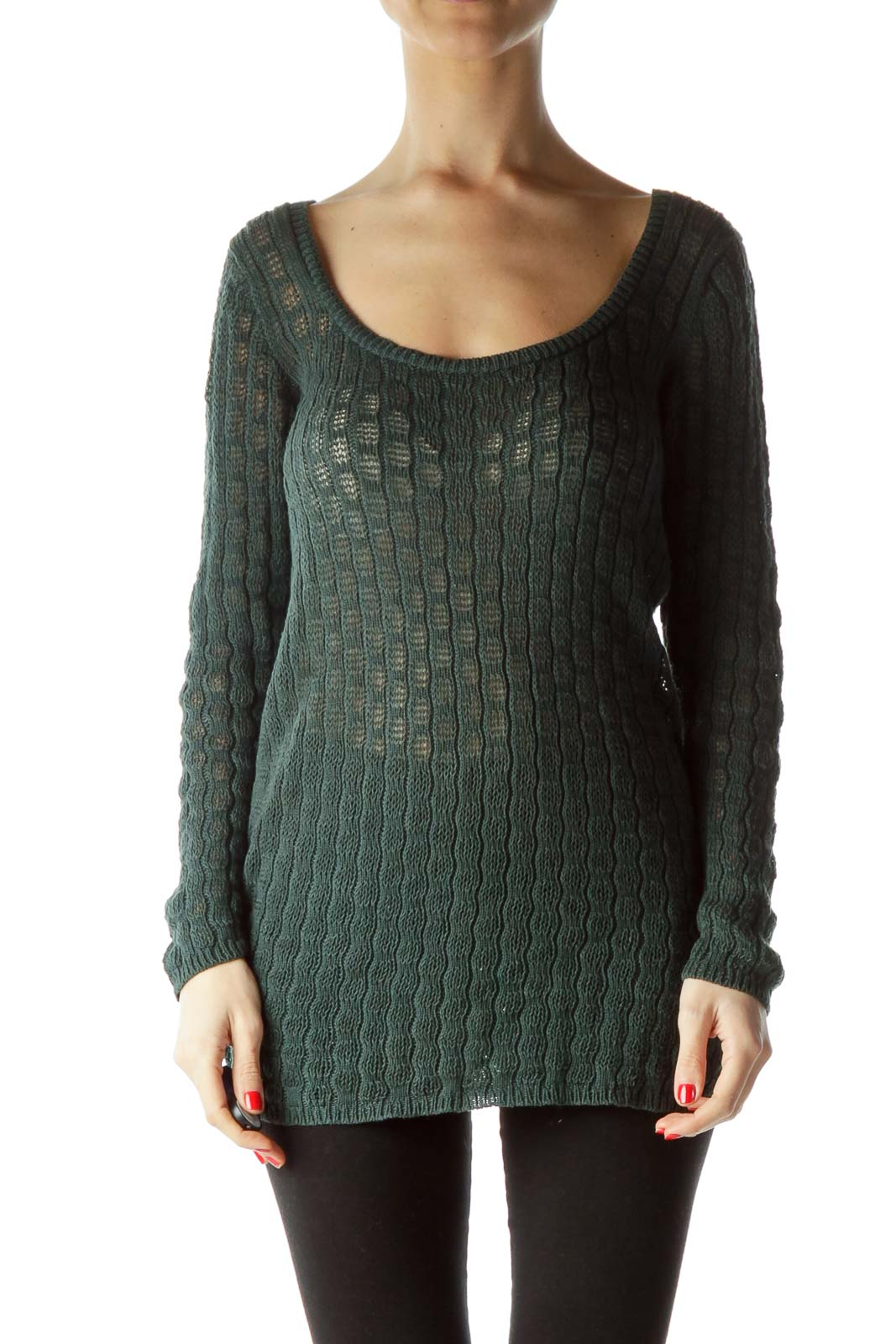 Green Knitted Long Sleeve Sweater Front