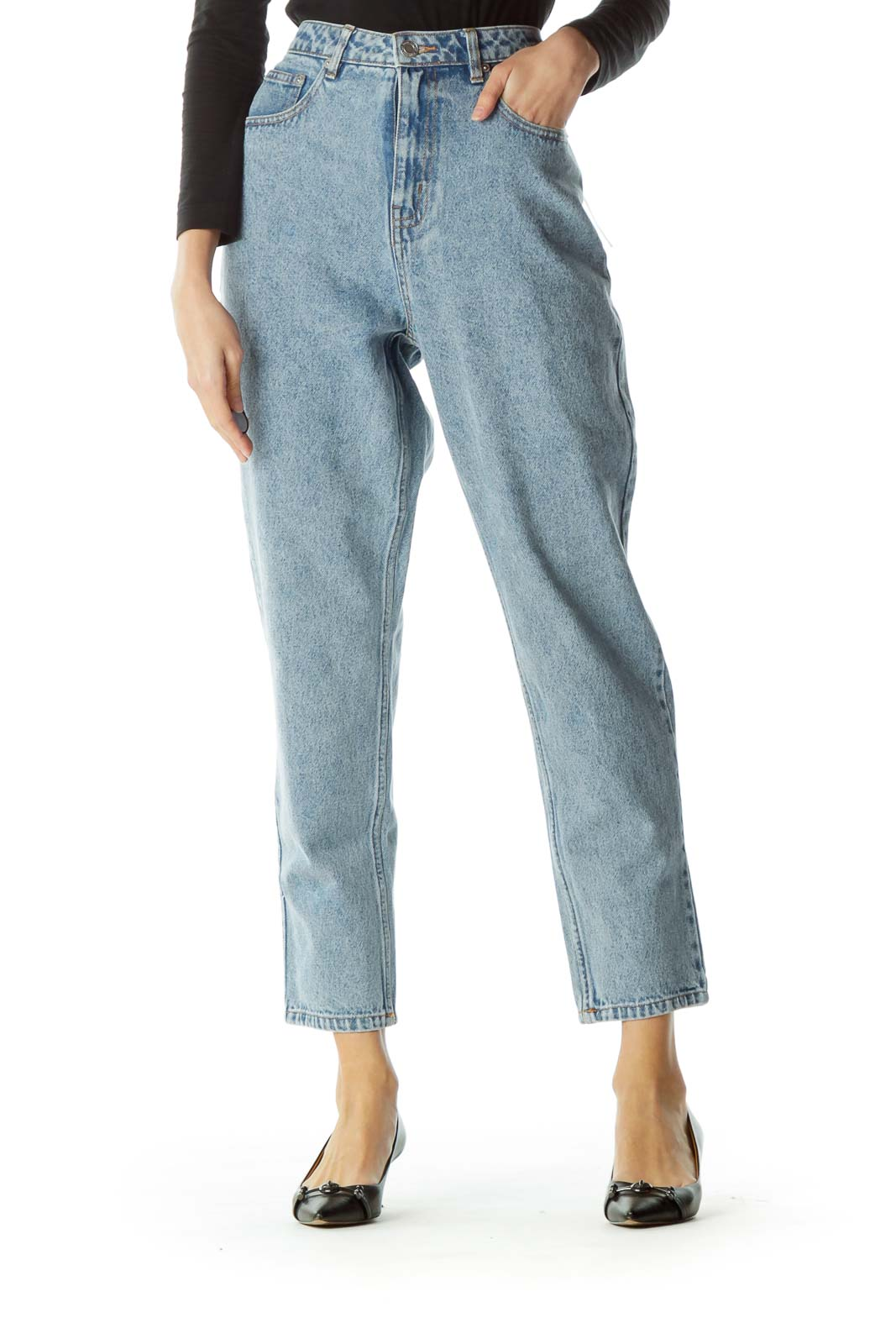 Blue Light Wash High-Waisted Denim Jeans Front
