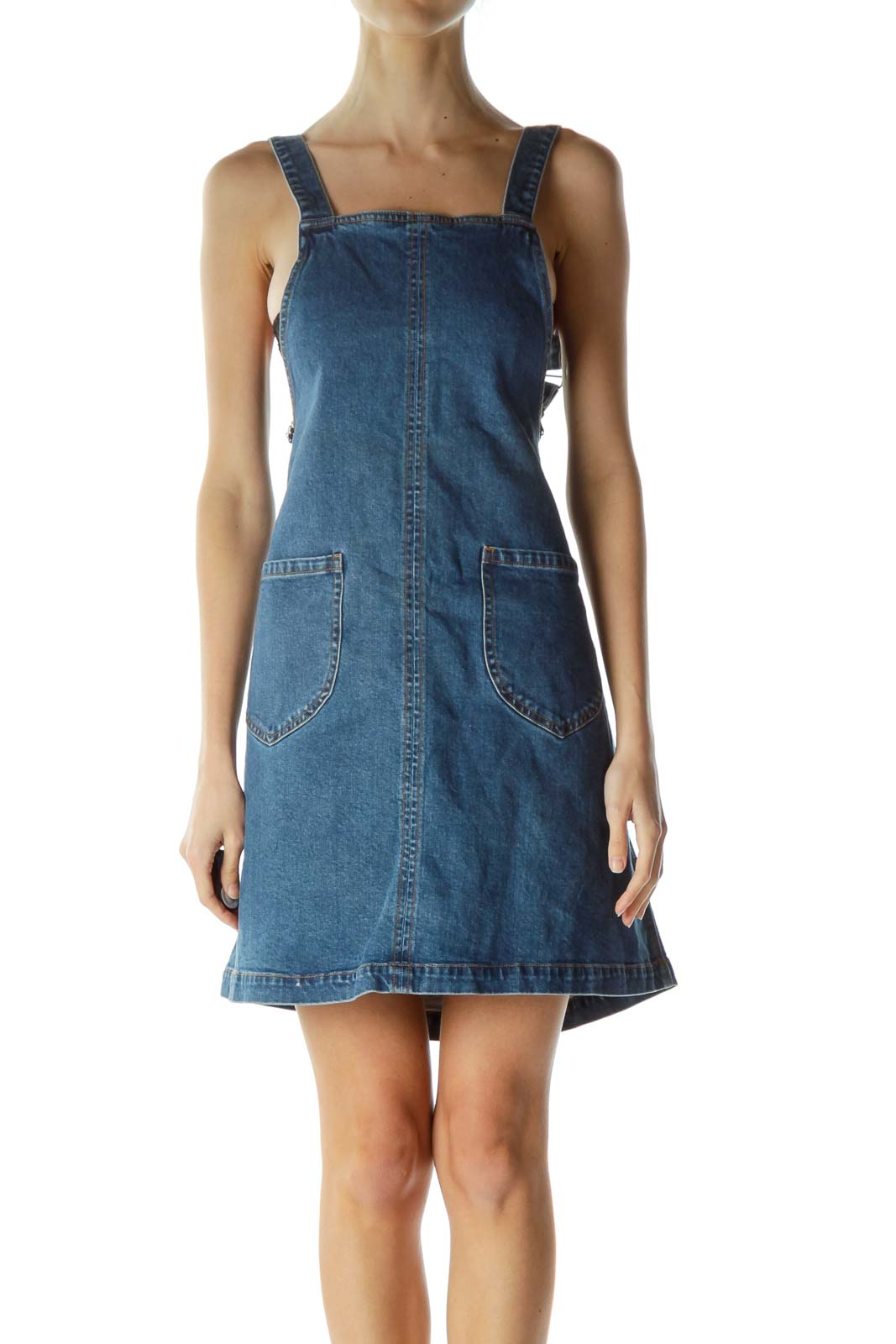 Blue Denim Pocketed Dress Front