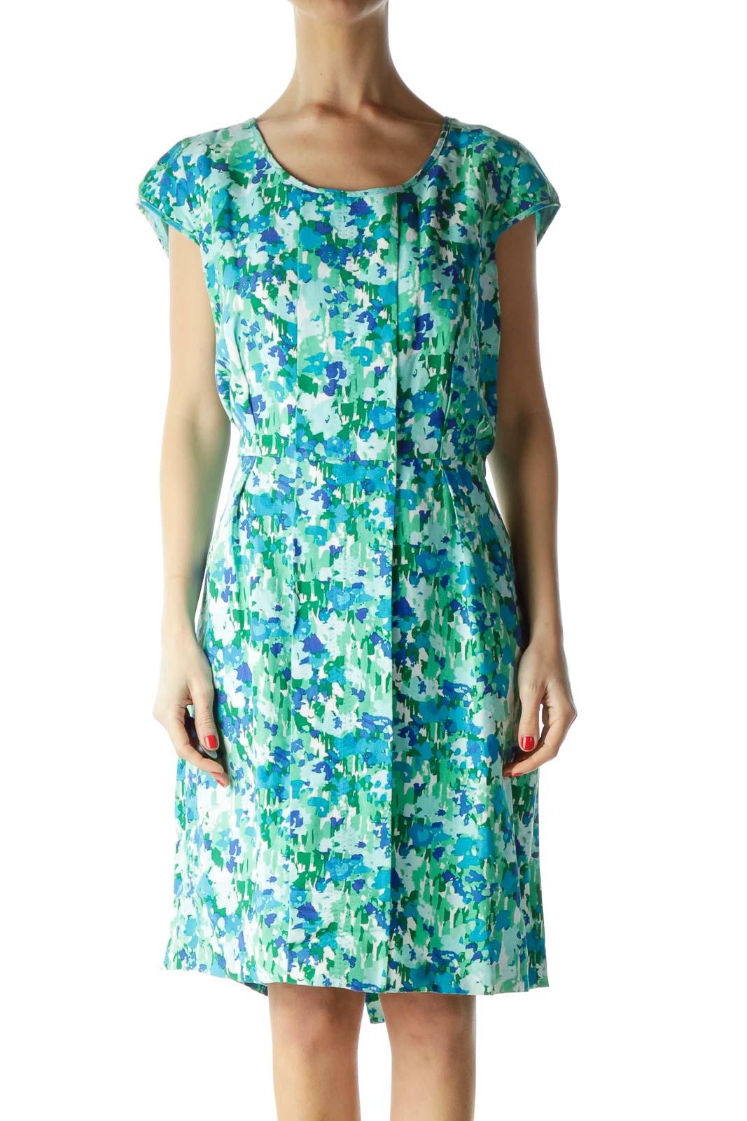 Green Print Linen Cap Sleeve Dress Front