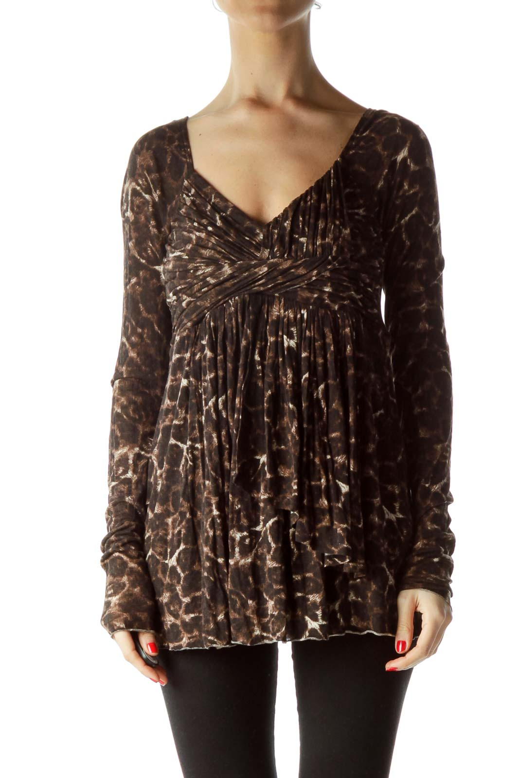 Brown Animal Print V-Neck Knot Top Front