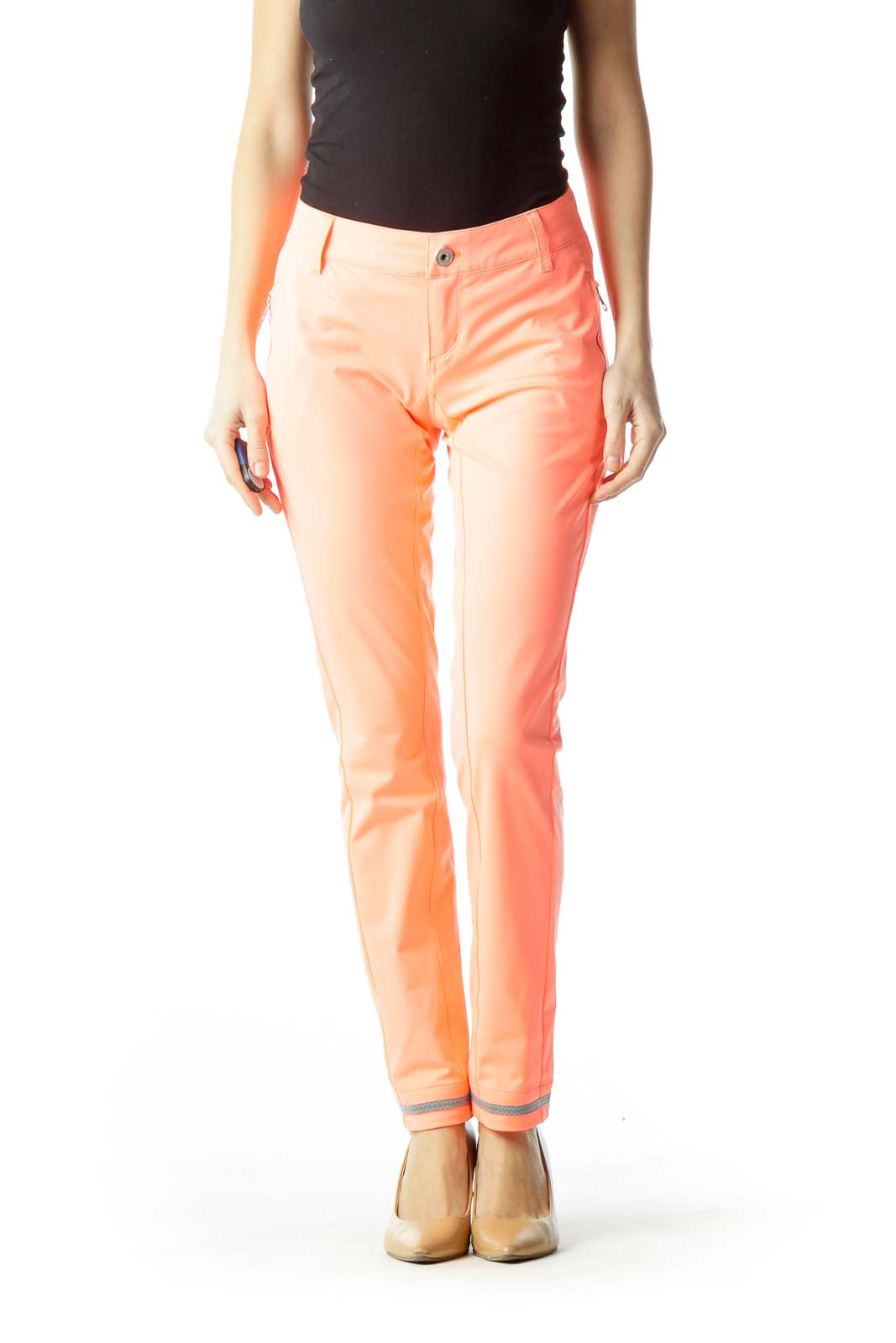 Orange Zippered Skinny Pants Front