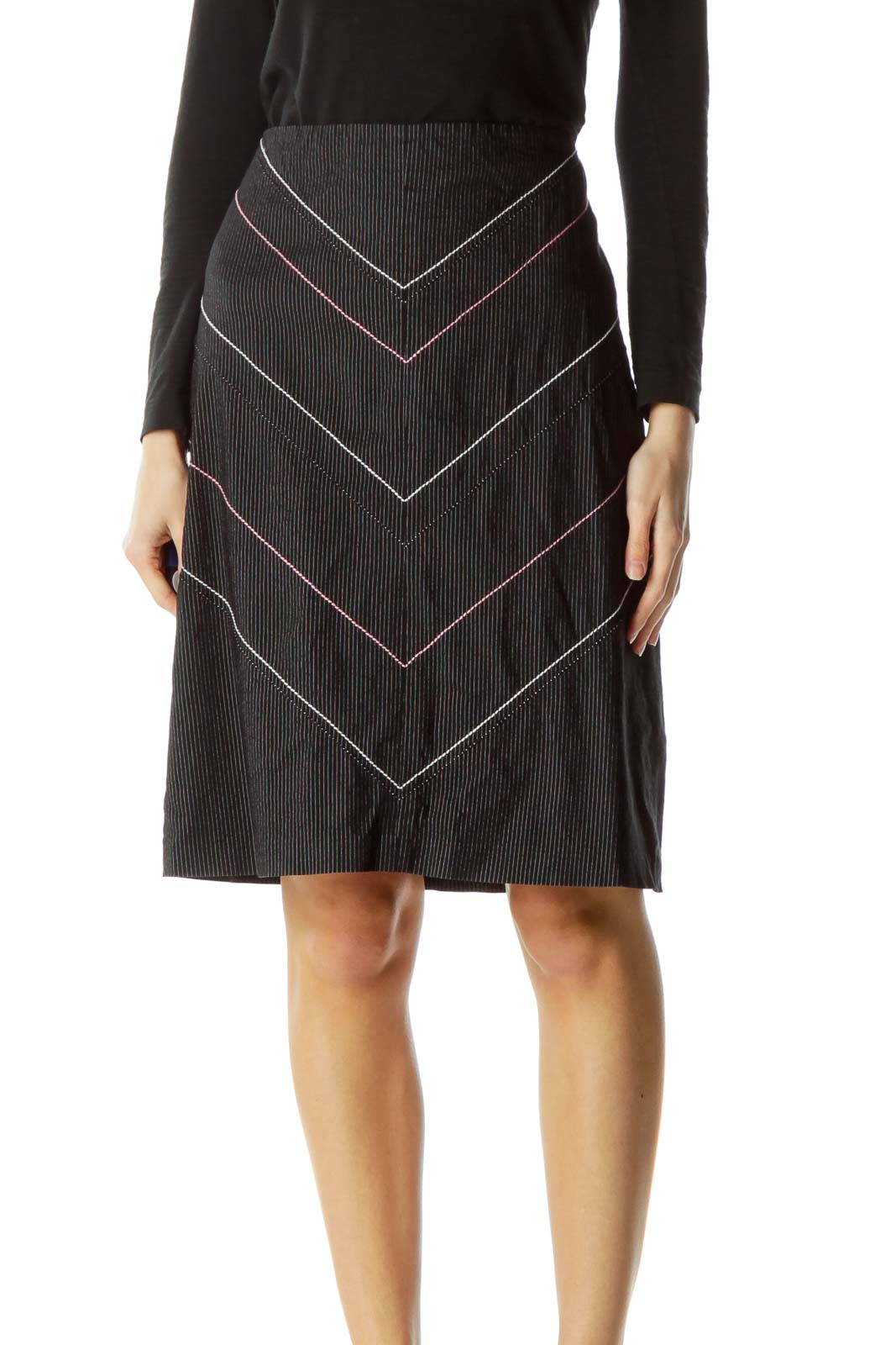 Black White Pinstripe A-Line Skirt Front