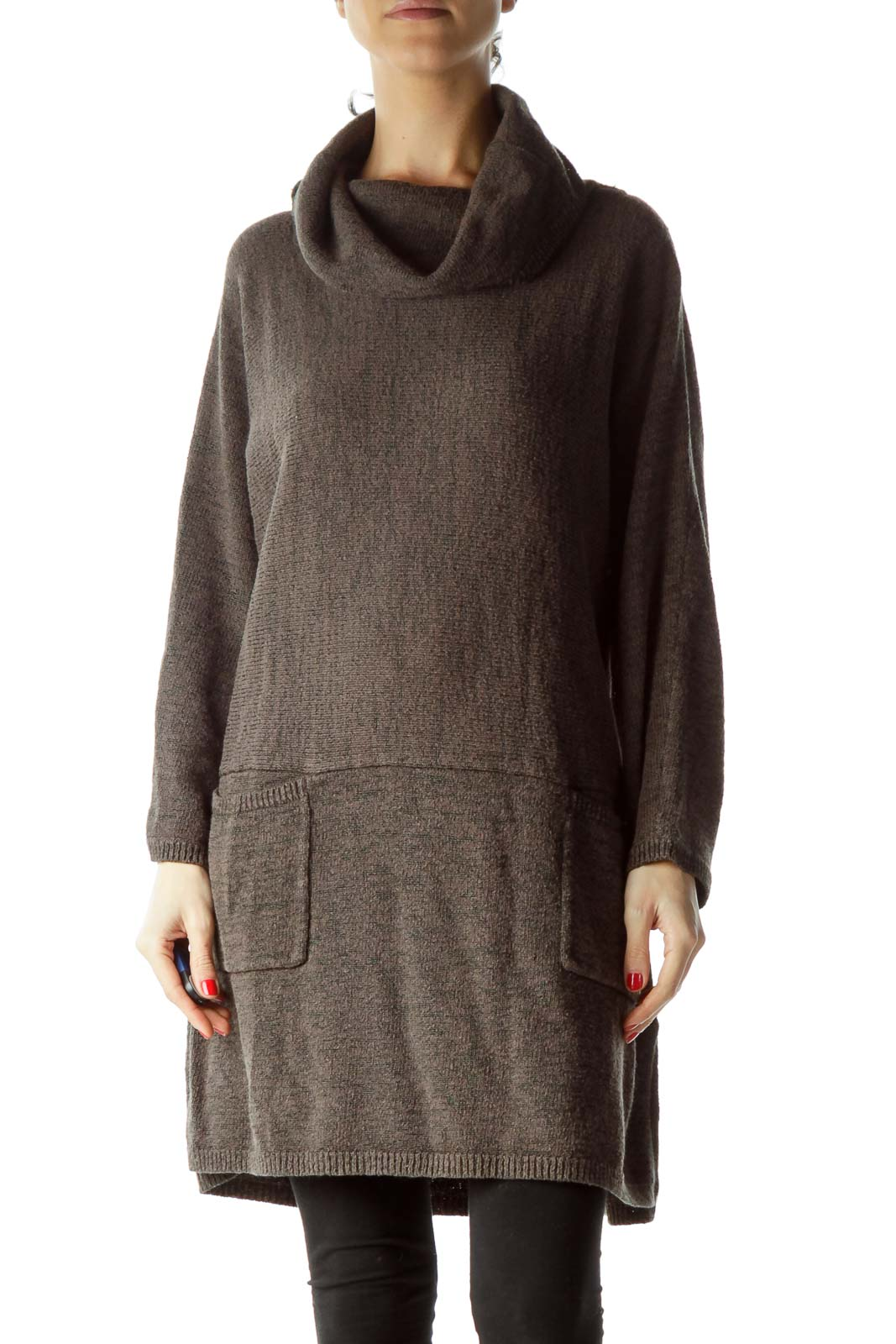 Gray Cowl Neck Pocketed Knit Dress Front