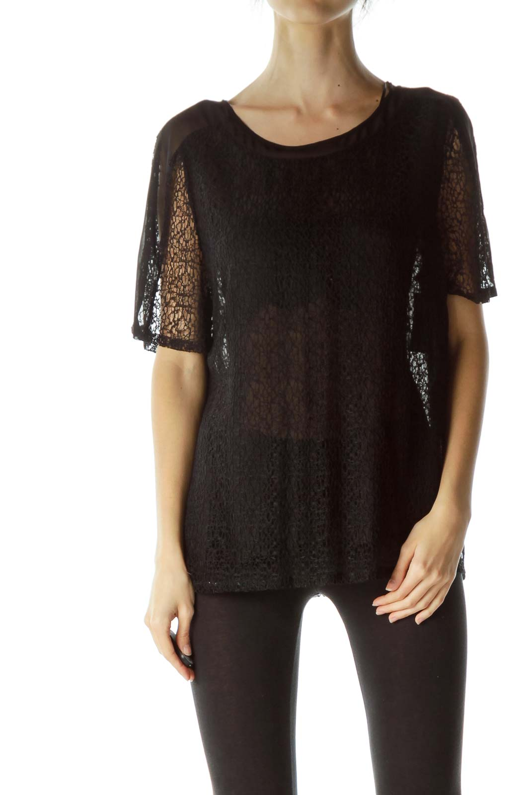 Black Knit Short Sleeve Top with Slip Front