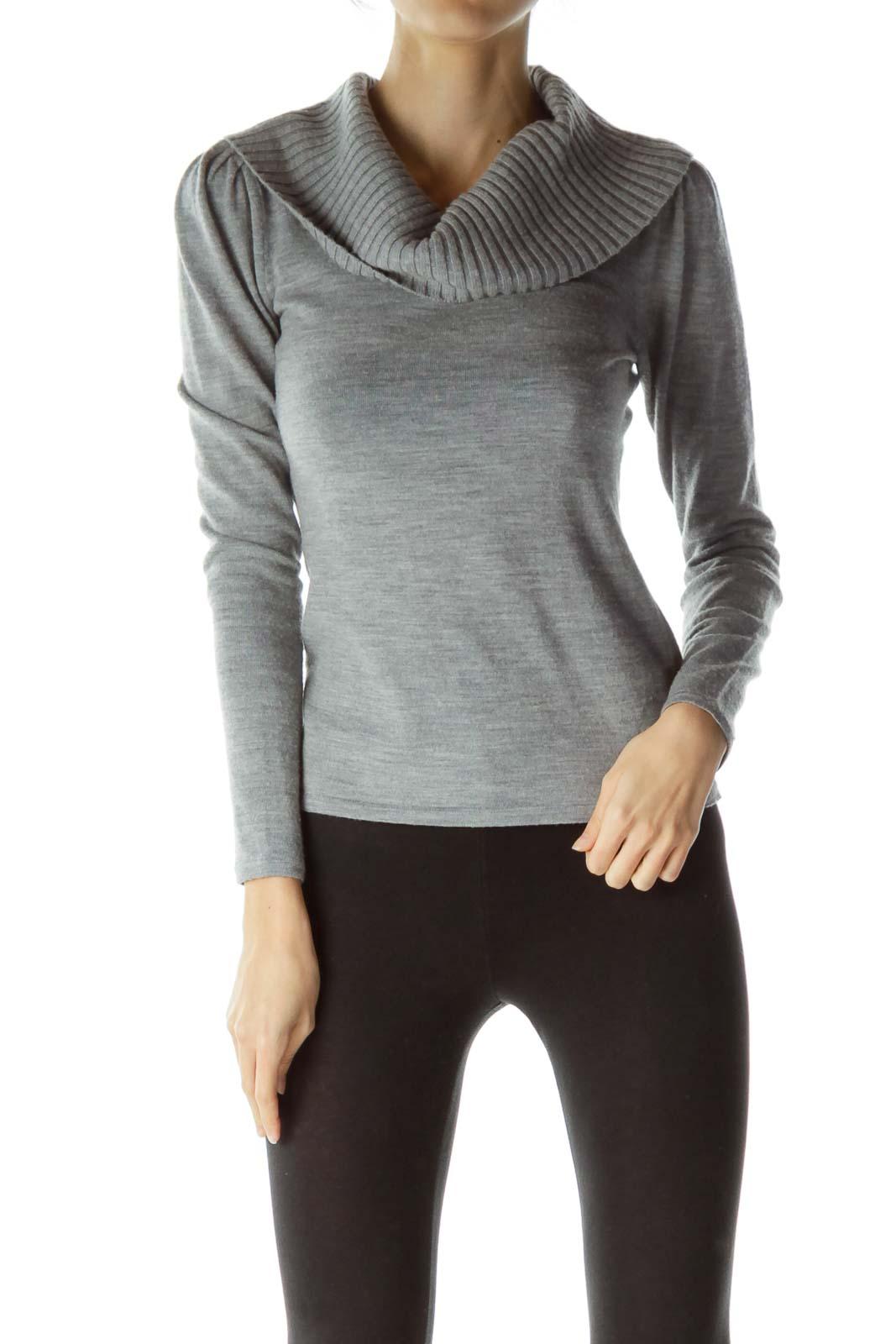 Gray Merino Wool Cowl Neck Sweater Front