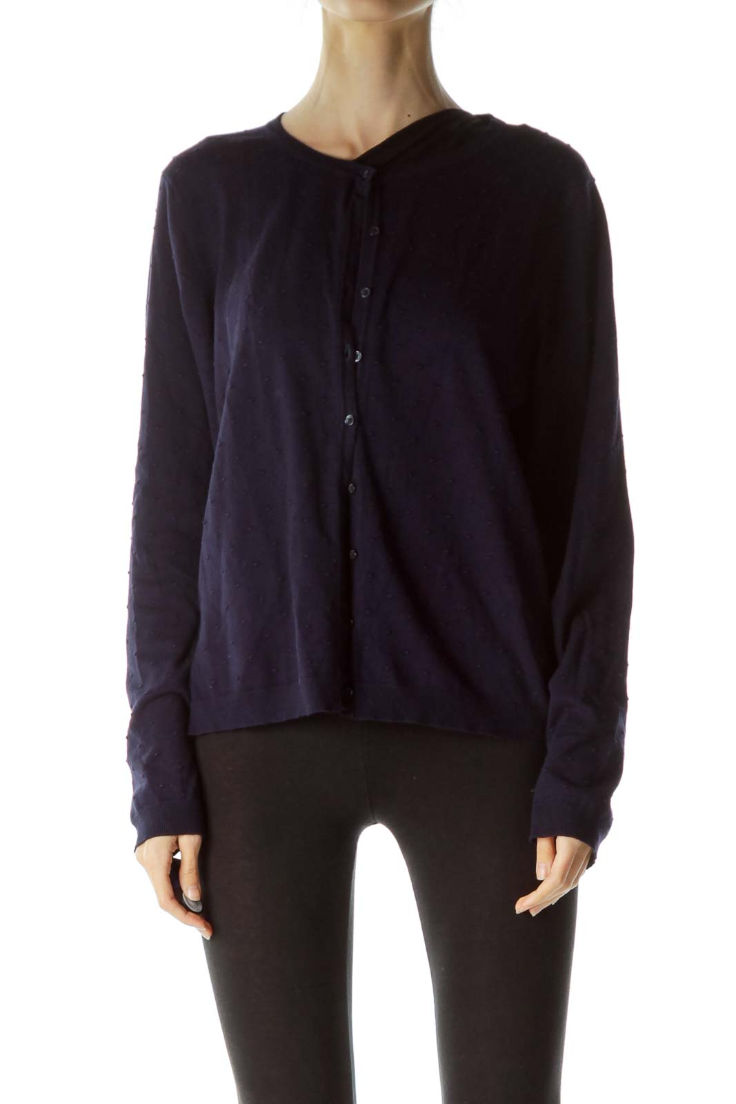 Navy Blue Textured Buttoned Sweater  Front