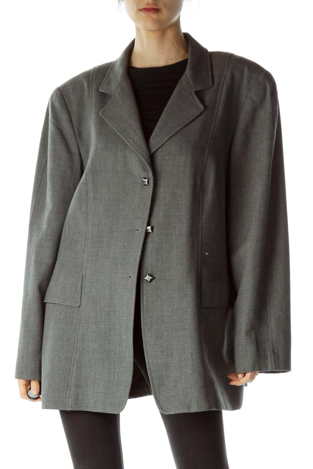 Gray Buttoned Wool Blazer Front