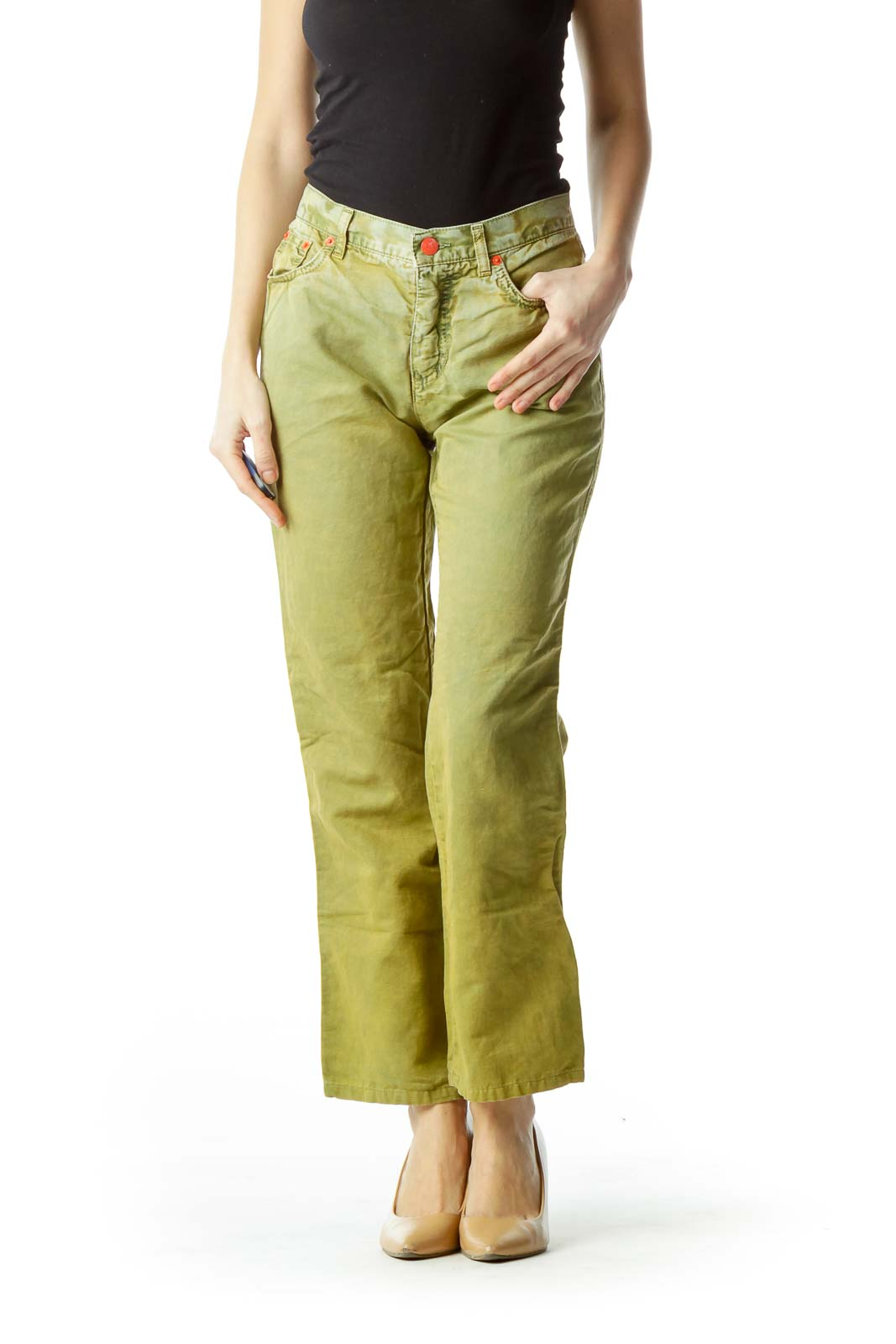 Washed Green Straight-Leg Jeans Front