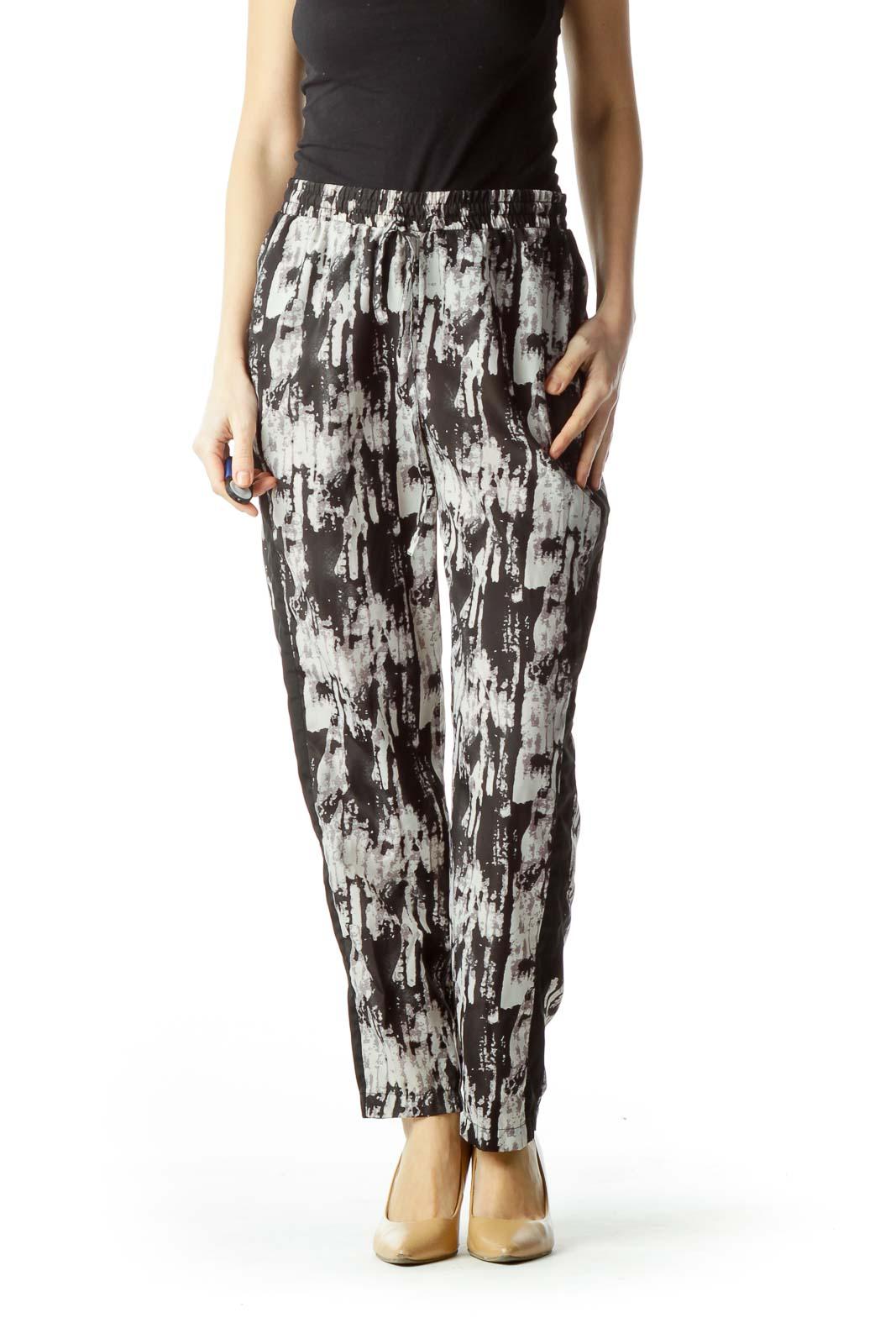 Black Gray Print Straight Leg Pants Front