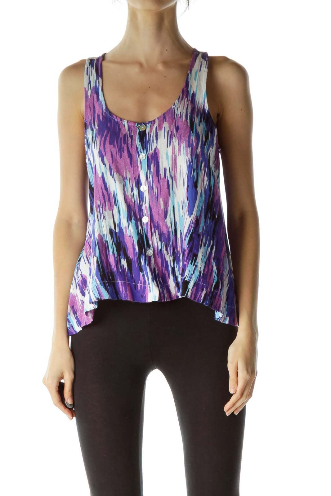 Purple Multicolored Print Sleeveless Blouse Front
