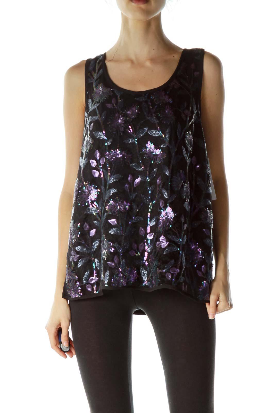 Black Purple Floral Sequins Sleeveless Blouse Front