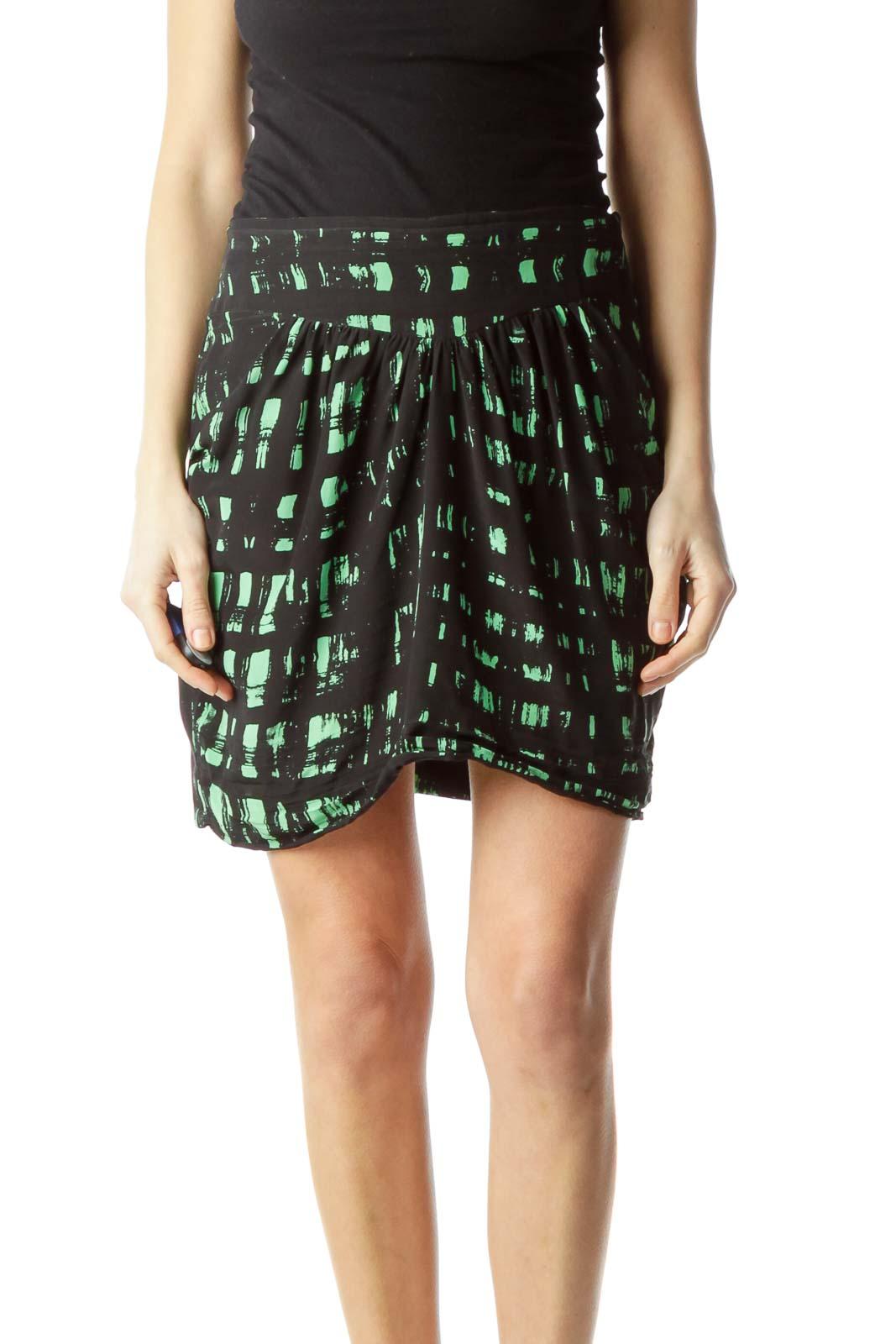 Black Green Print Silk Mini Skirt Front