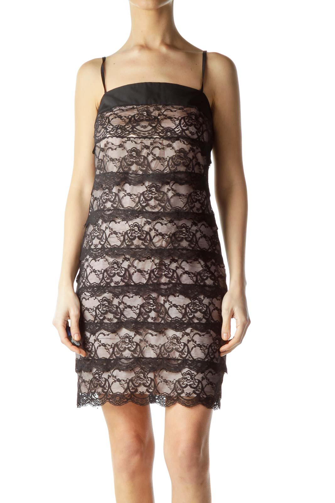 Black Pink Lace Spaghetti Strap Dress Front