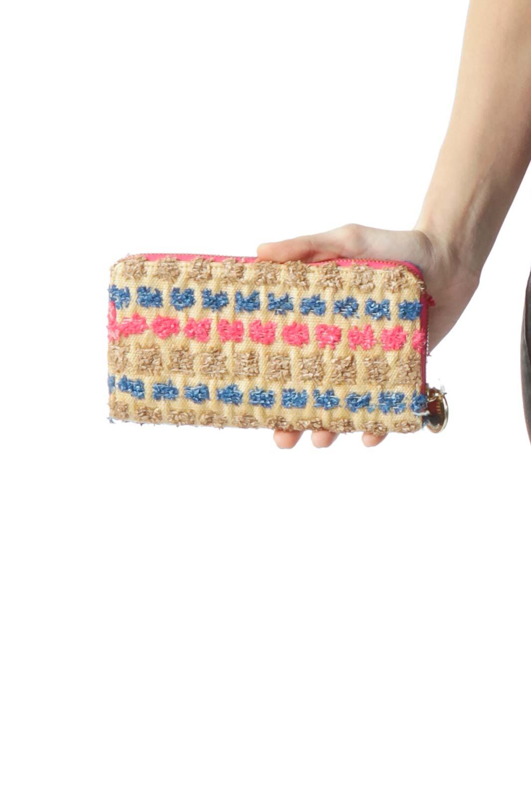 Brown Pink Blue Straw Detail Wallet Front