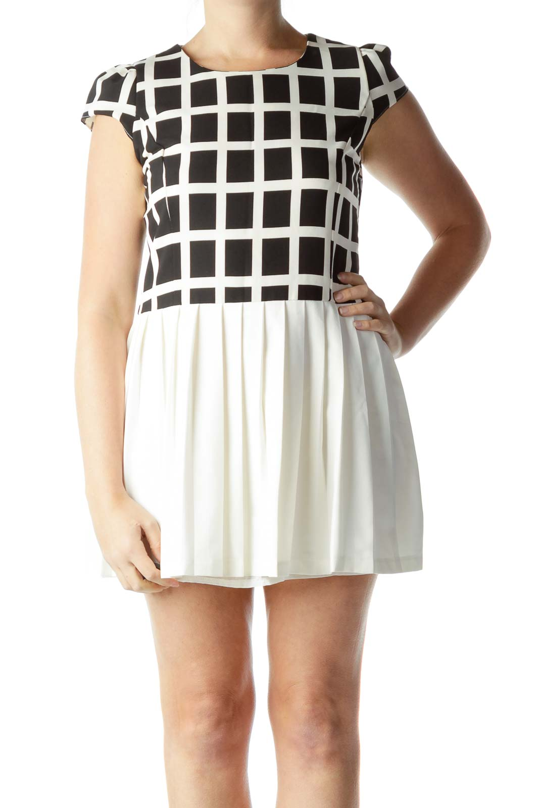 Black Cream Cap Sleeve Pleated Dress Front