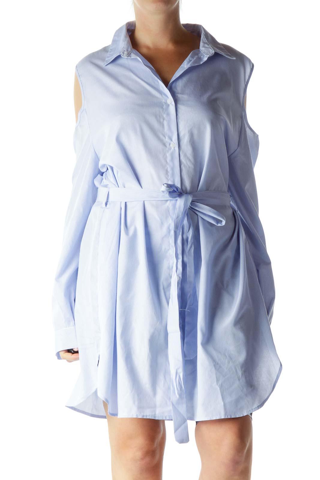 Blue White Pinstripe Off-Shoulder Day Dress Front