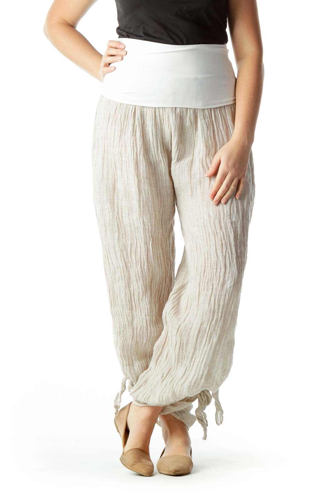 Beige 100% Linen See-Through Flared Pants Front