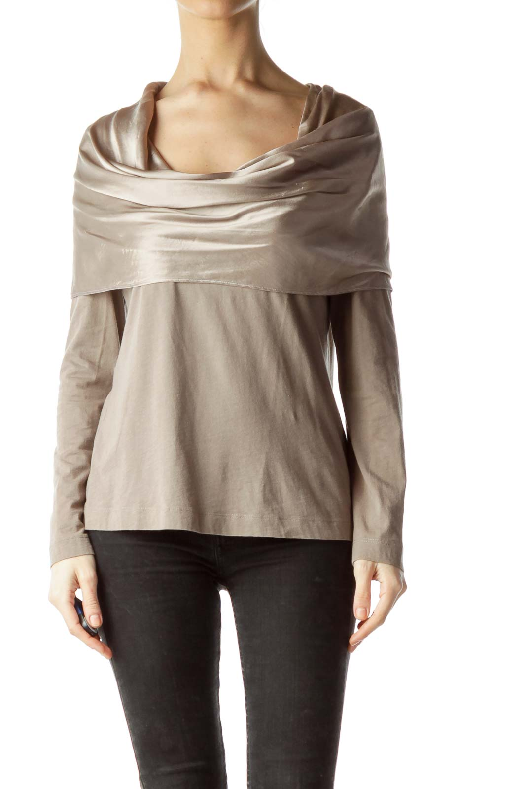 Gray Shiny Cowl Neck Long Sleeve Blouse Front
