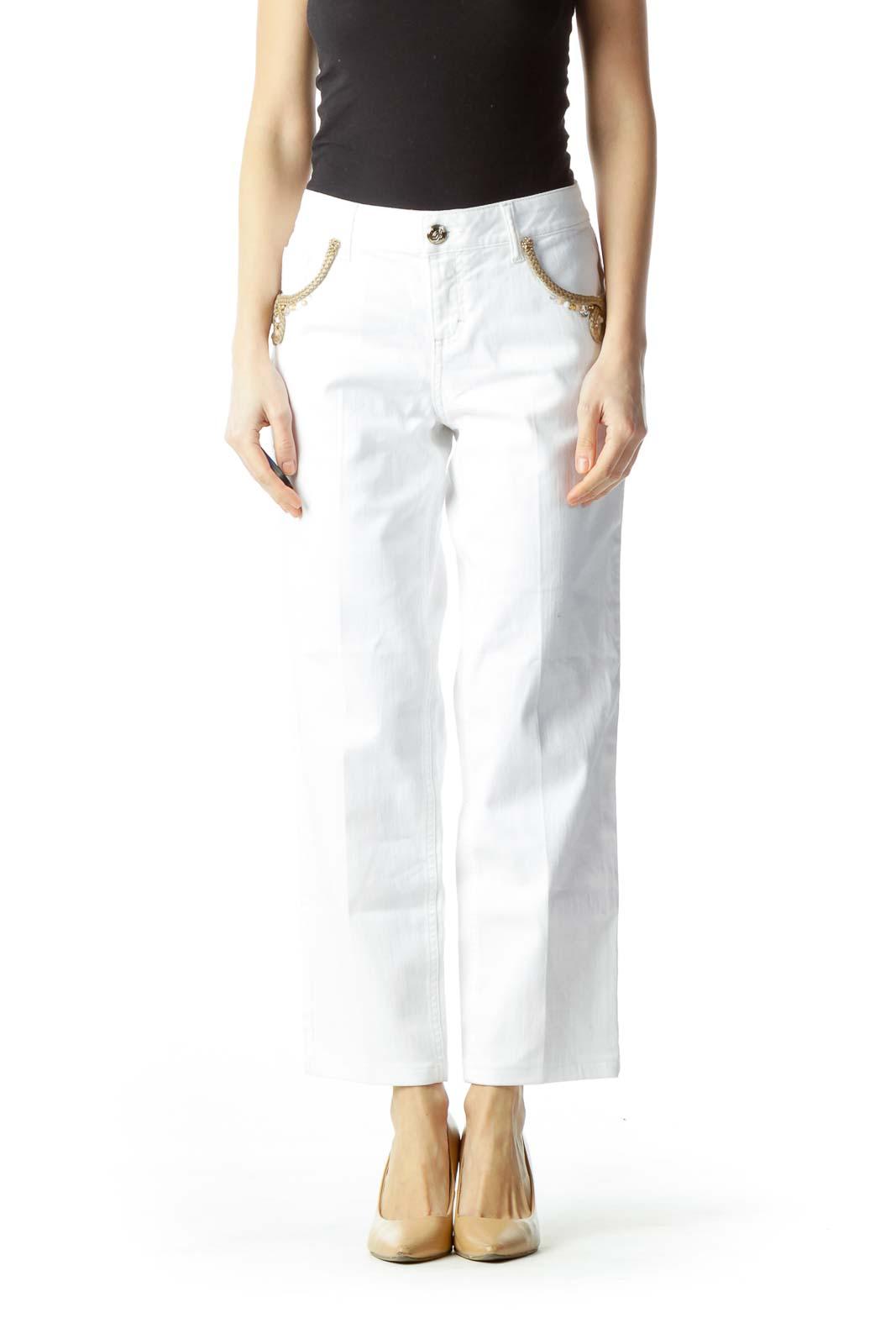 White Pocket Embellishment Skinny Pants Front