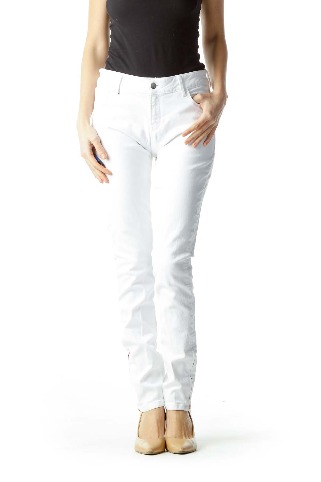 White with Red Zippered Ankles Slim Pants Front