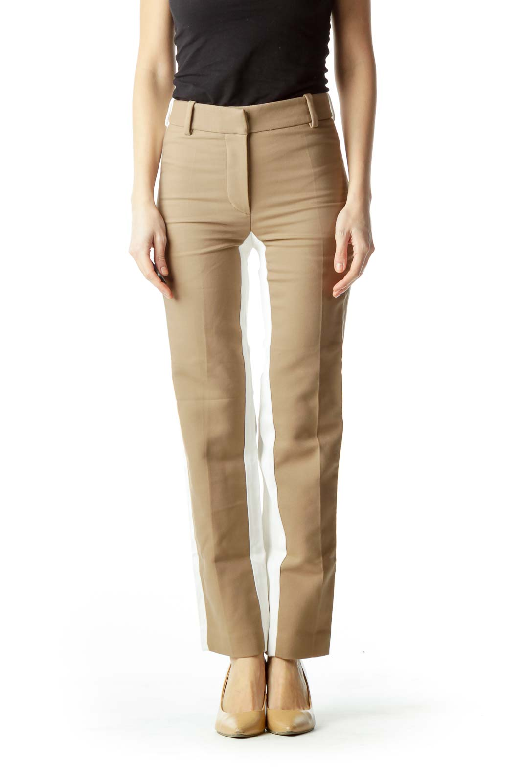 Brown Front Cream Back Skinny Pants Front