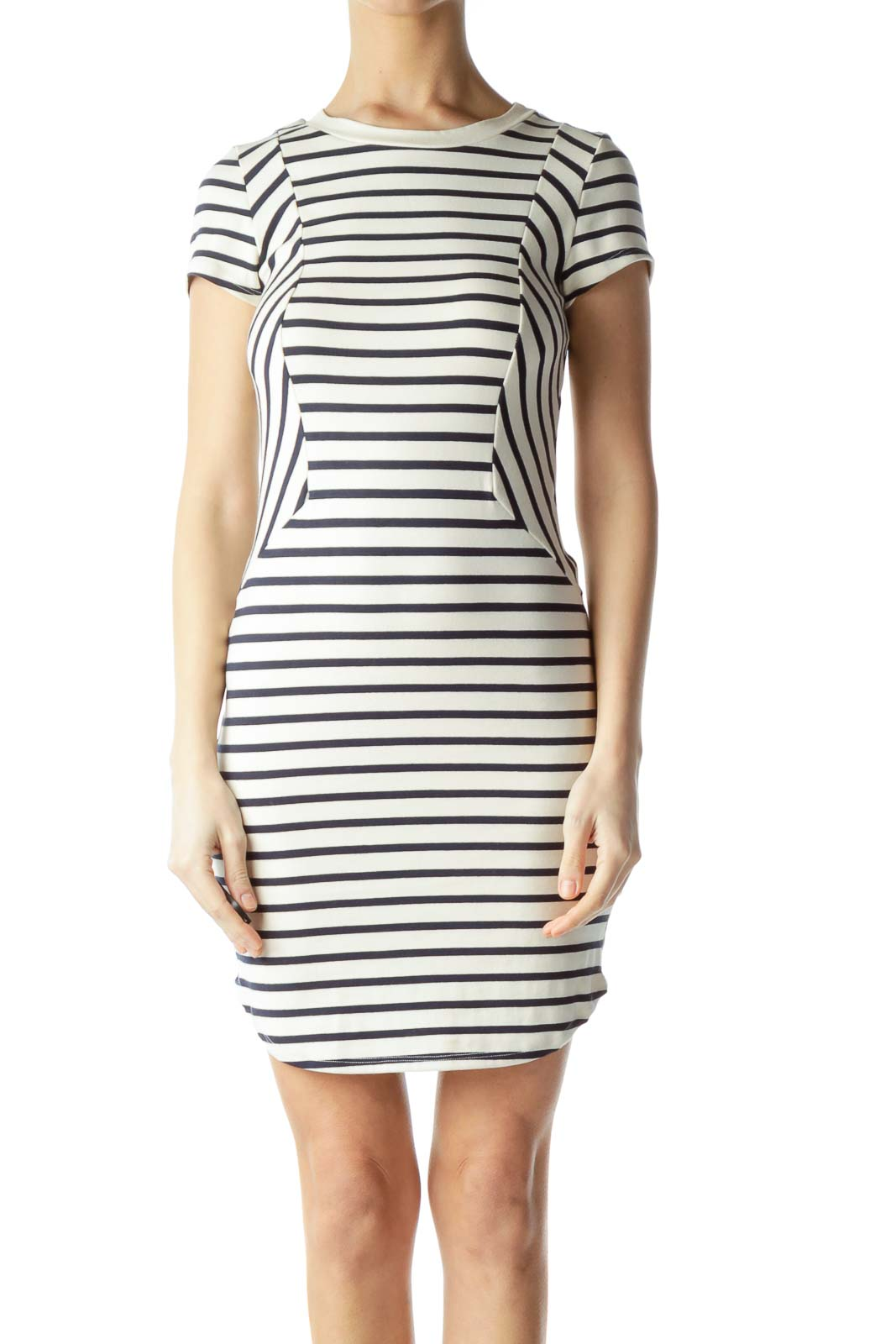Cream with Navy Blue Stripes Jersey Dress Front