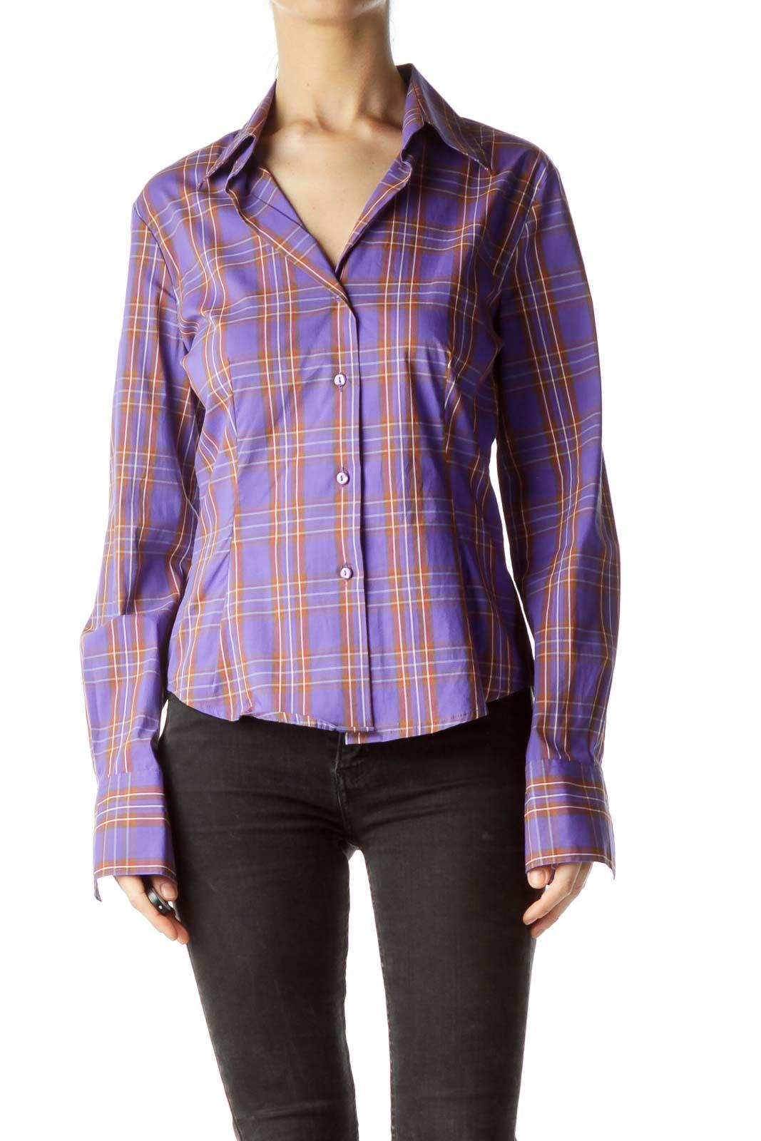 Purple Multicolored Plaid Shirt Front