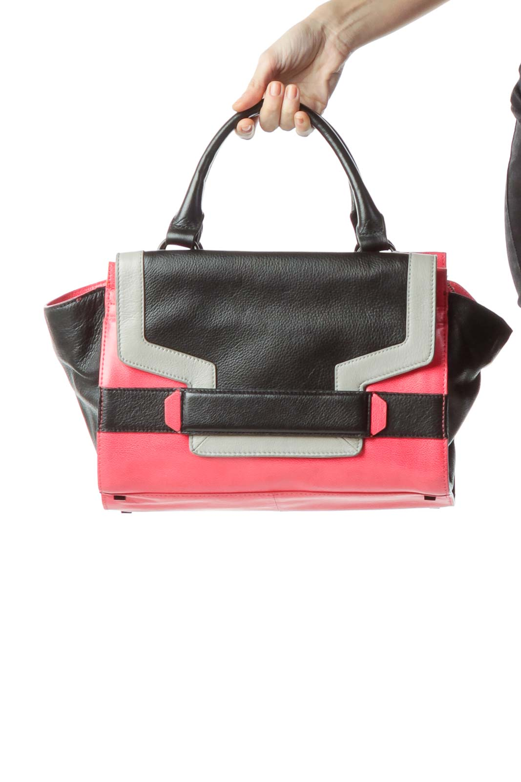 Pink Black 100% Genuine Leather Tote Bag Front