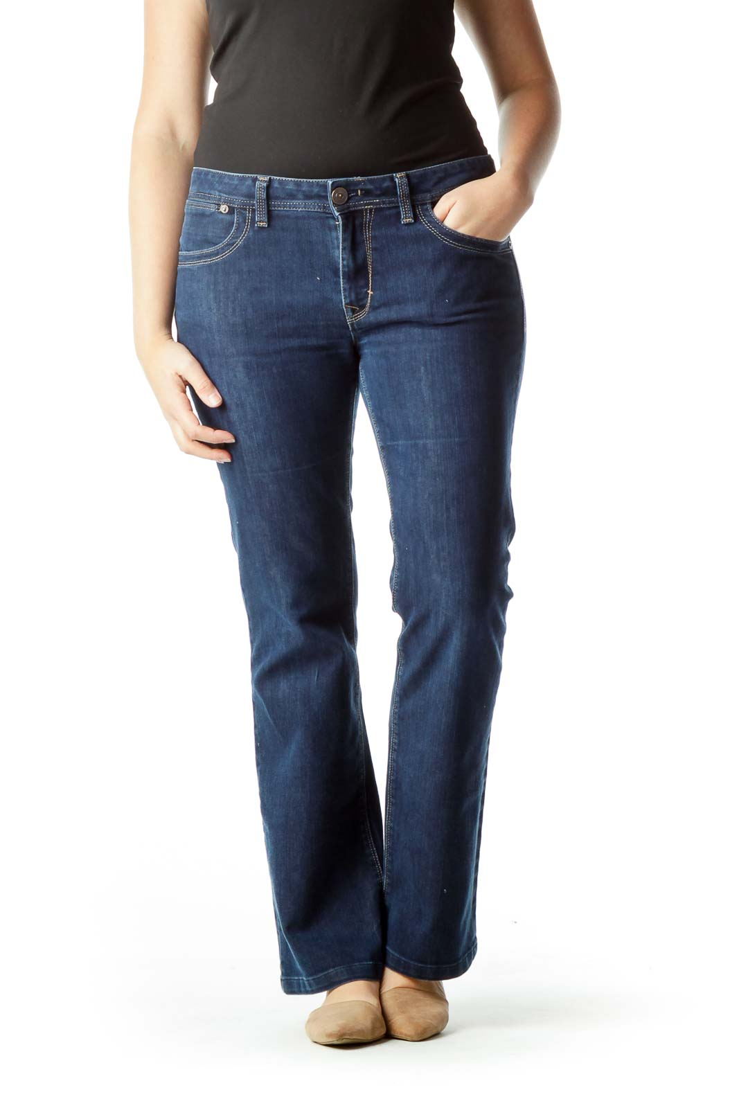 Navy Denim Flared Jeans Front