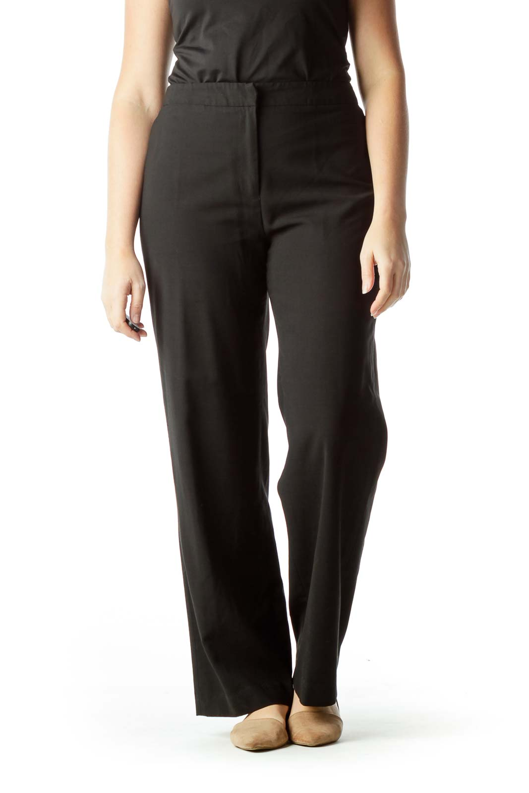 Black High-Waisted Slacks Front