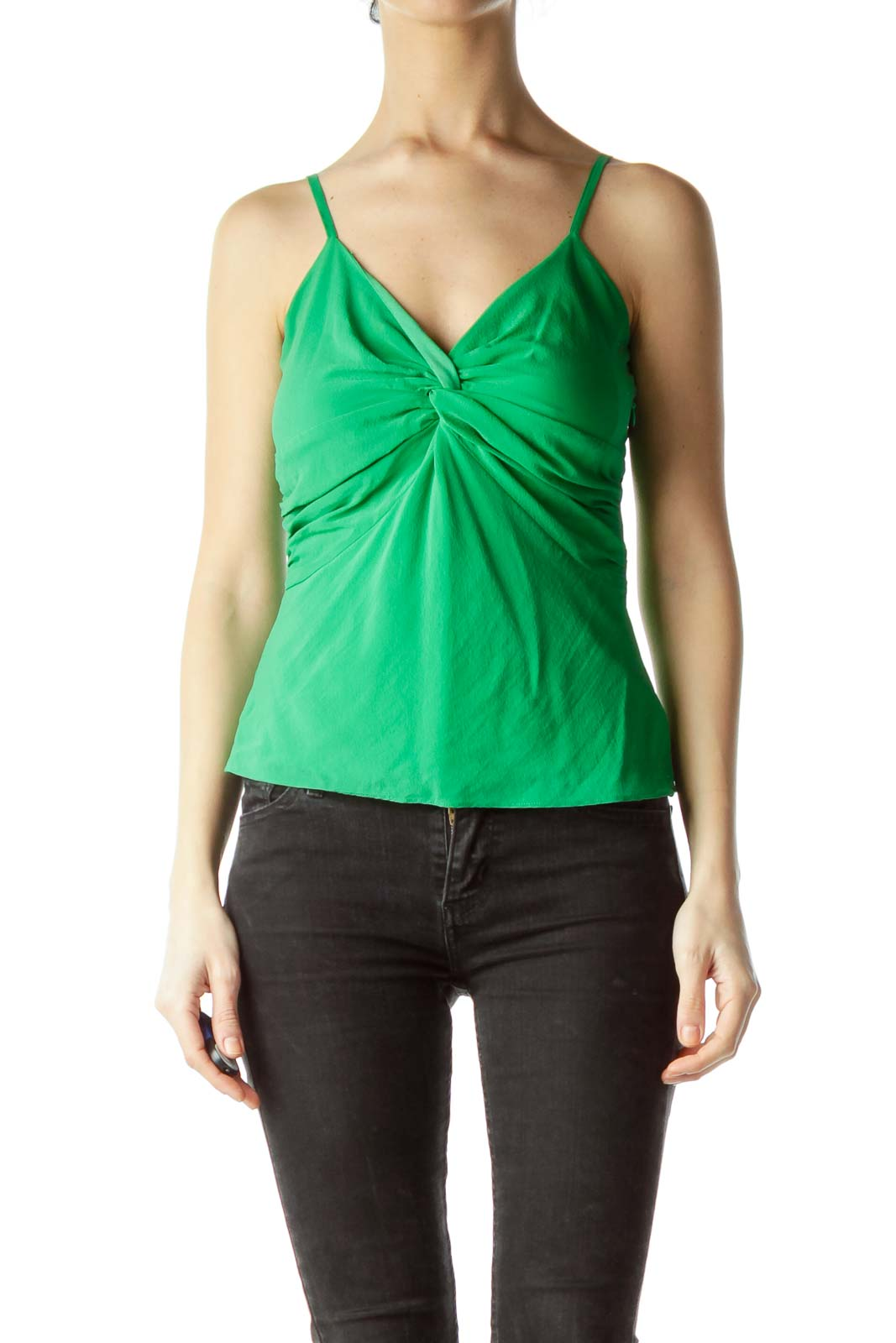 Green Spaghetti Strap Front Knot Blouse Front