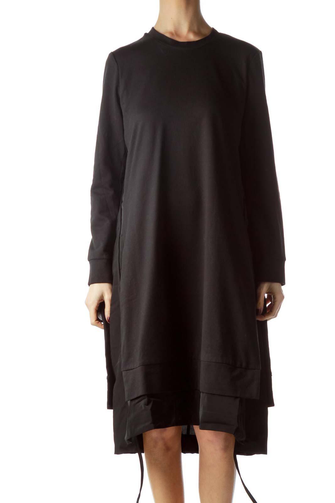 Black Round Neck Sweatshirt Dress Front