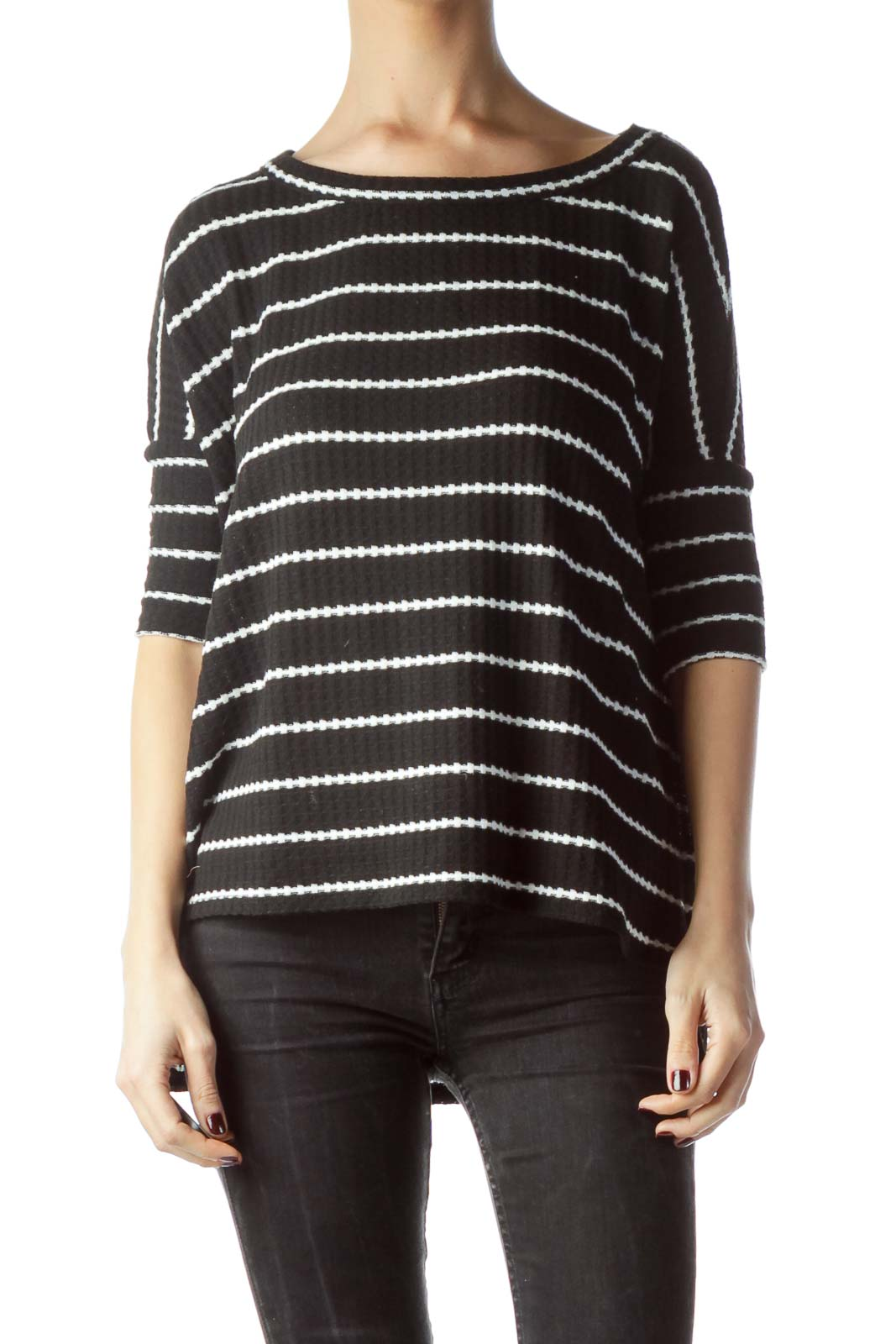 Black White 3/4 Sleeve High-Low Knit Top Front