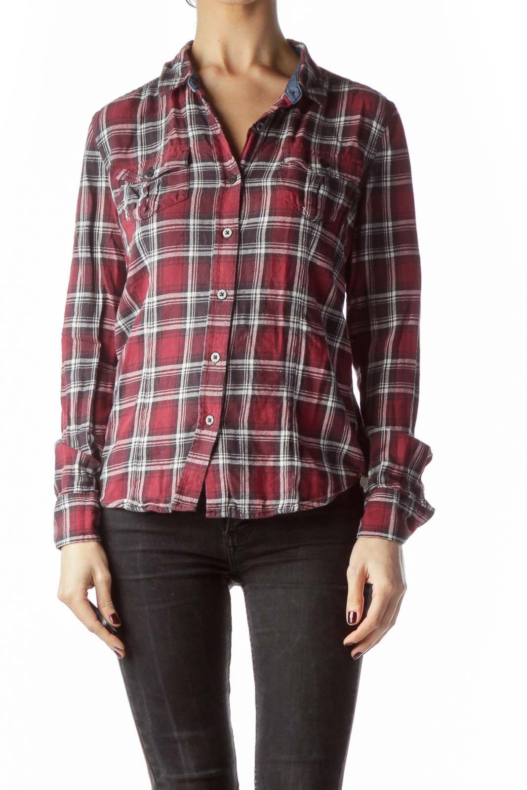 Red Black Cream Plaid Long Sleeve Knit Shirt Front