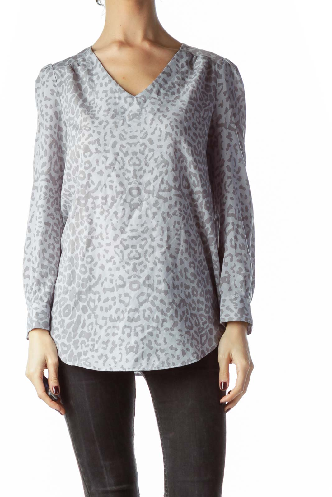 Gray Animal Print Blouse Front