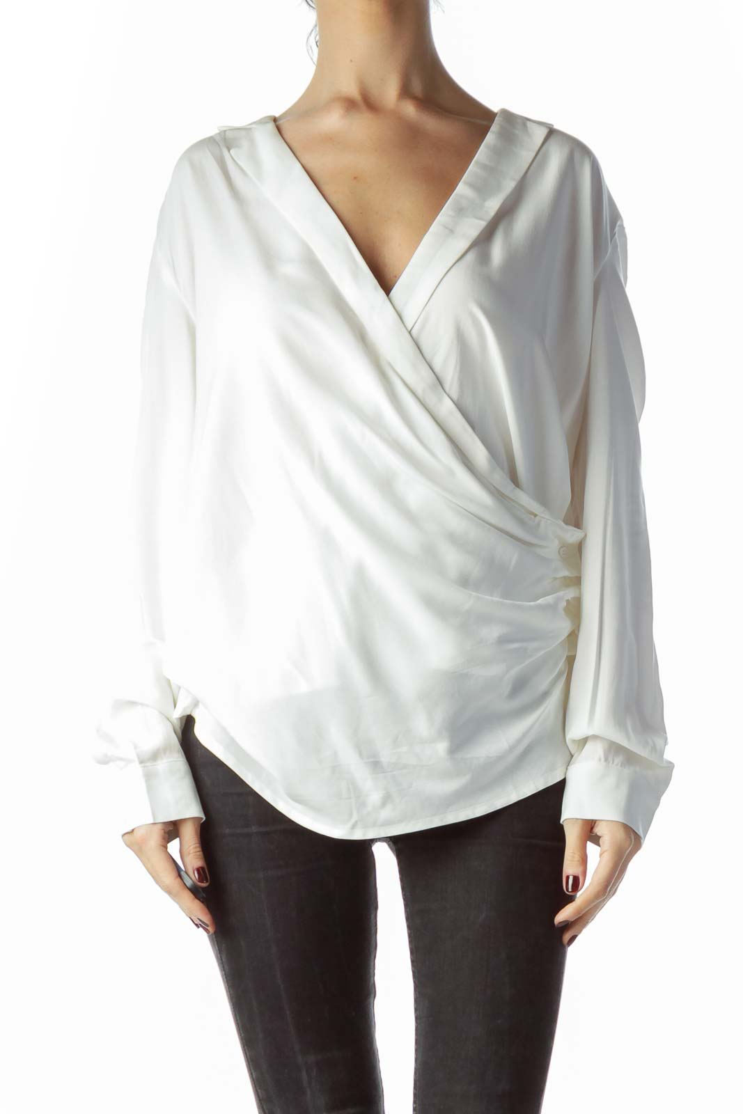 Off-White Open Front Buttoned V-Neck Top Front