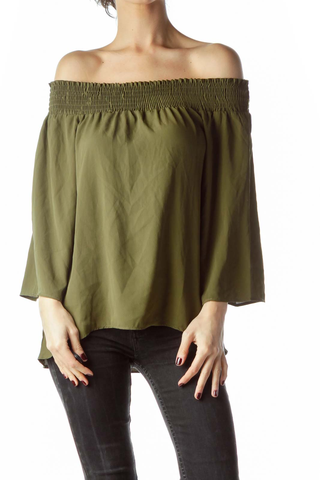 Army Green Cold Shoulder 3/4 Sleeve Blouse Front