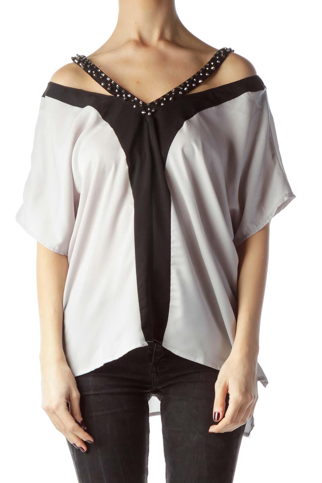 Gray Black Color Block Embellished Neck Top Front
