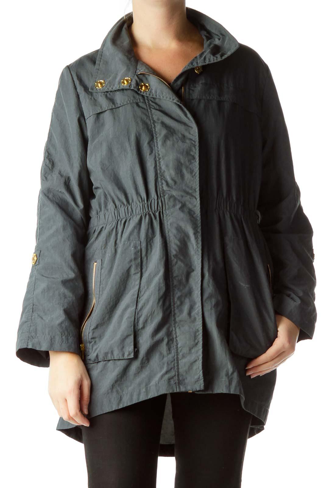 Gray Rain Coat Front
