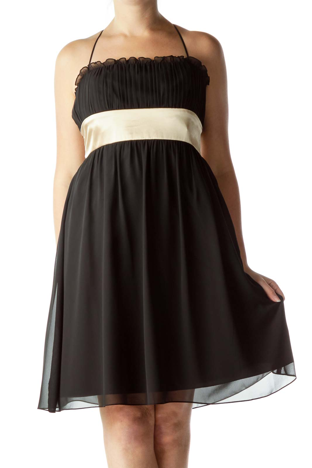 Black Pleated Cocktail Dress Front