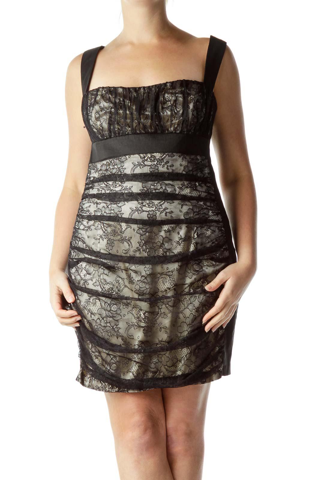 Black Lace Open-Back Cocktail Dress Front