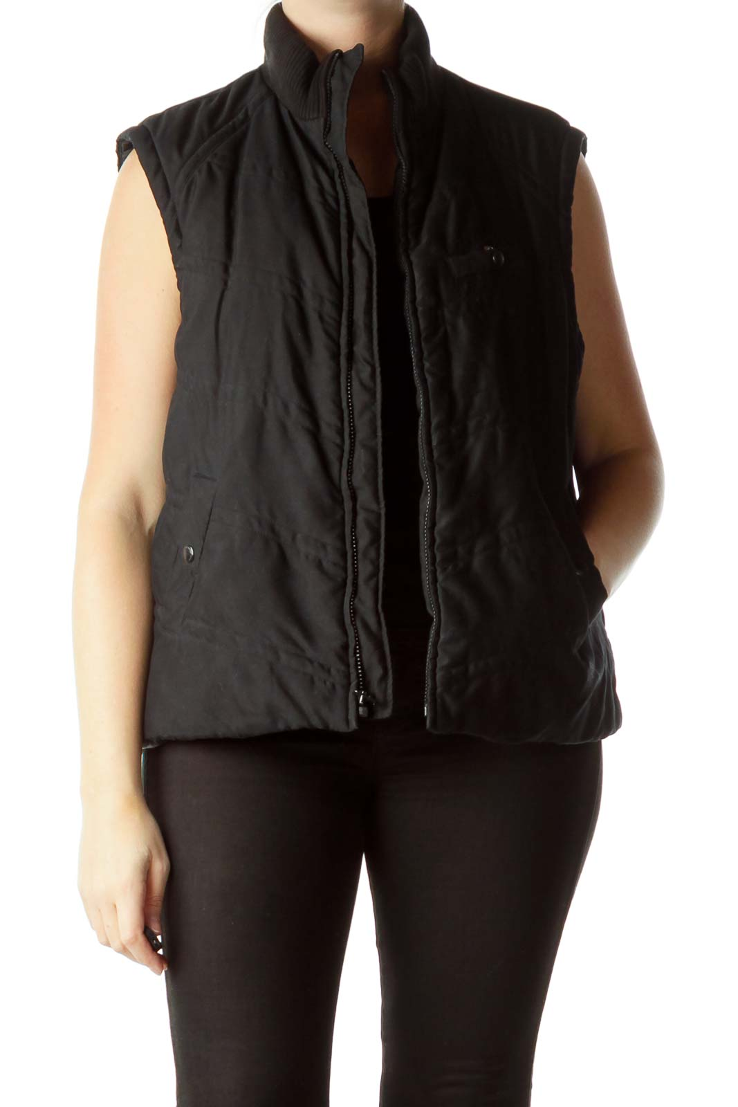 Black Padded Vest with Pockets Front
