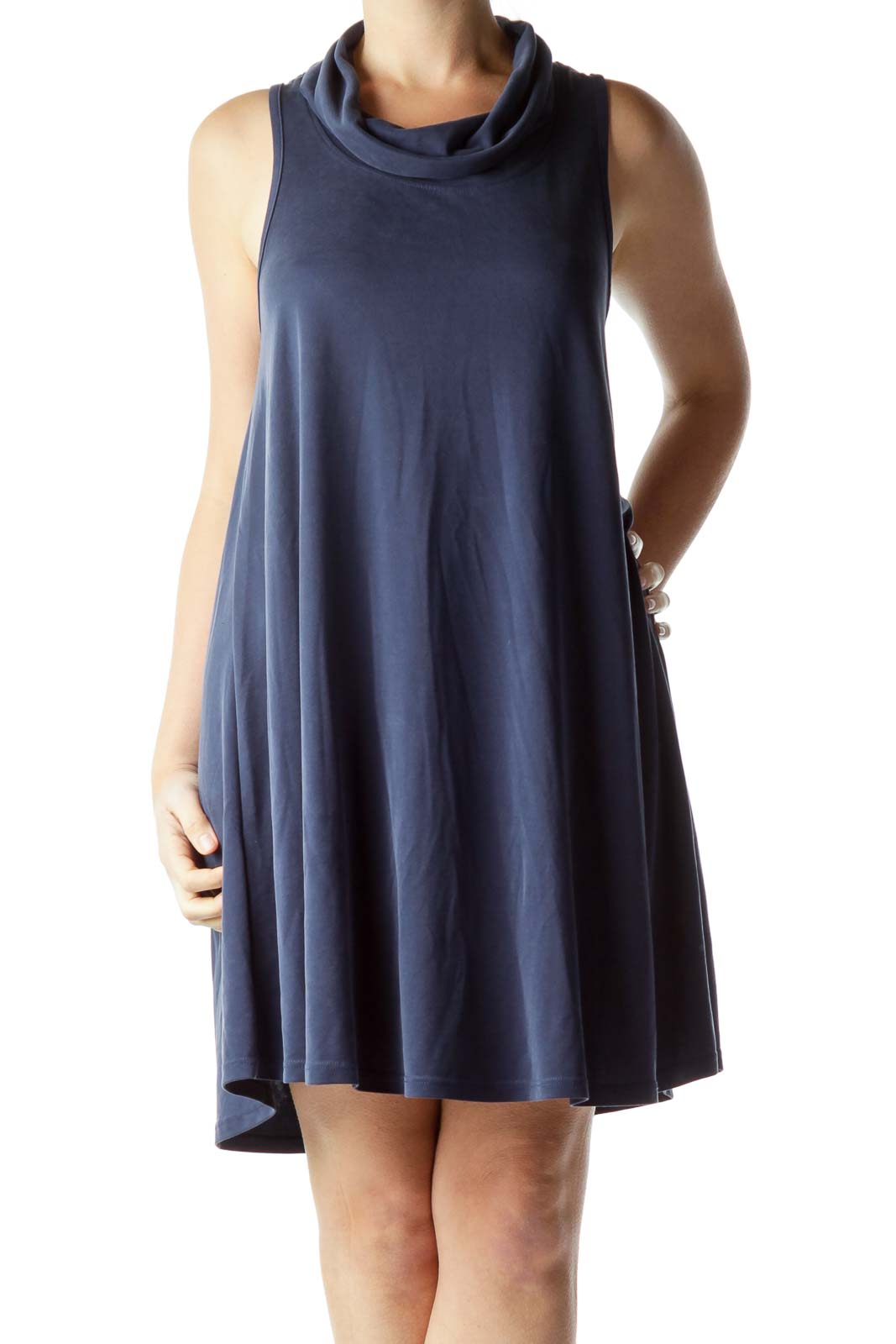 Blue Cowl Neck Shift Dress Front