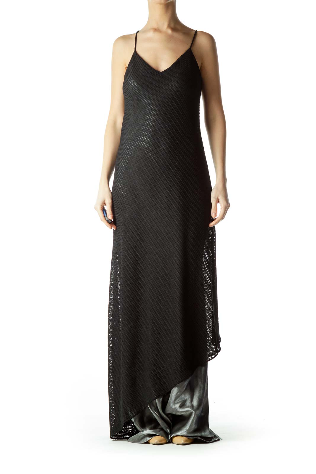Black Cable Knit Spaghetti Strap Maxi Dress Front