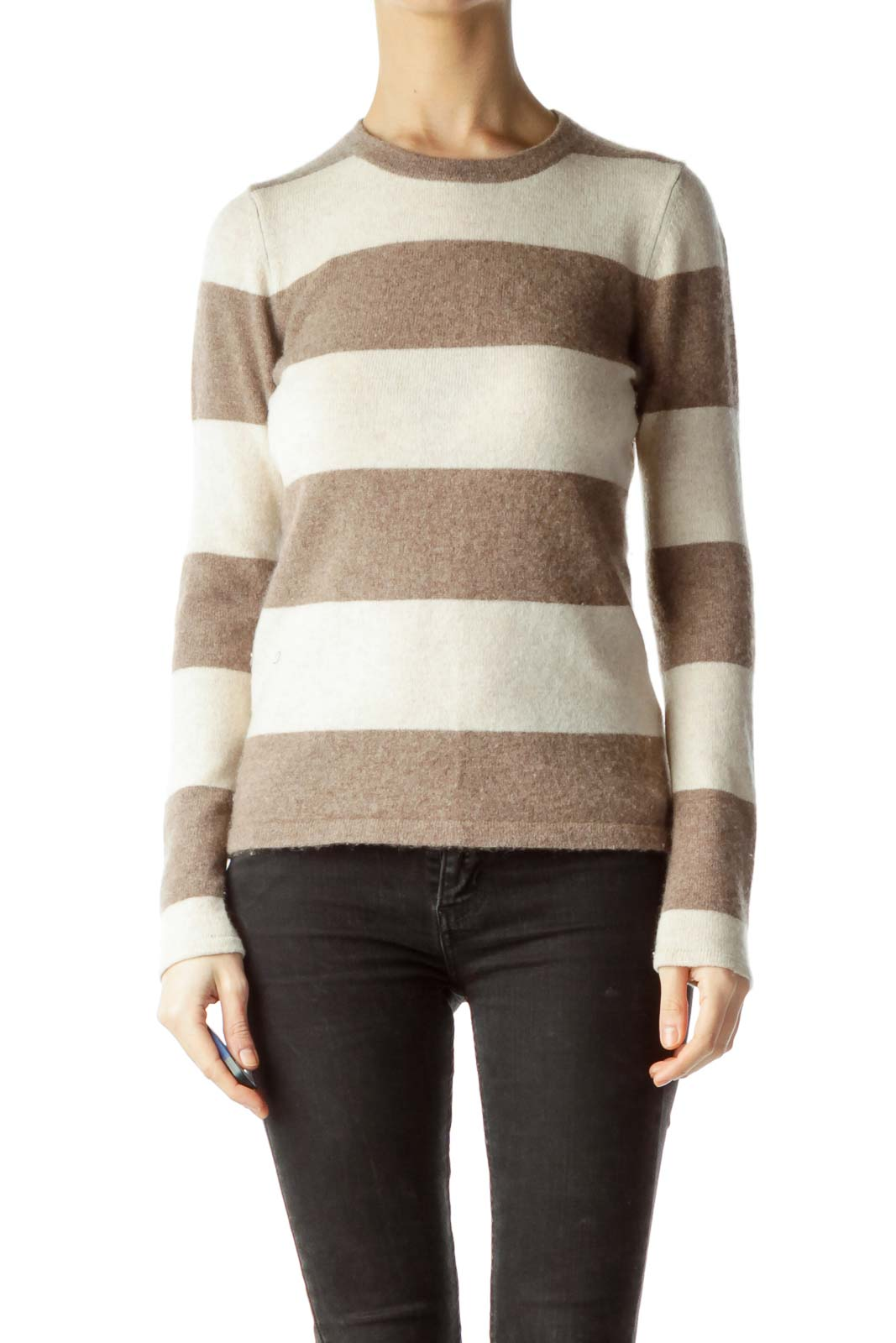 Brown Beige Striped 100% Cashmere Sweater Front