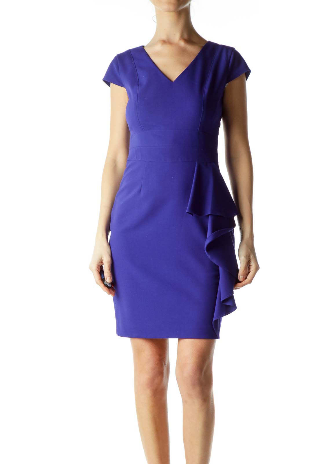 Blue Ruffle Sheath Dress Front